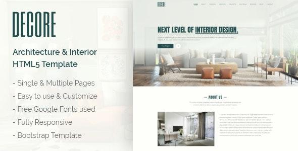 DeCore - Architecture & Interior HTML5 Template - Business Corporate