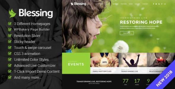 Blessing   Responsive WordPress Theme for Church Websites - Churches Nonprofit