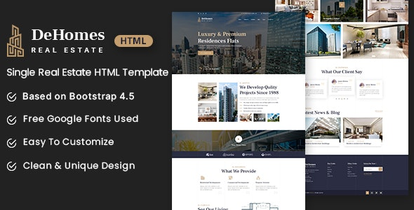 Dehomes - Single Real Estate HTML Template - Business Corporate