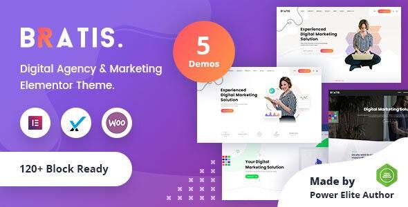 Bratis - Digital Marketing WordPress Theme + RTL - Portfolio Creative