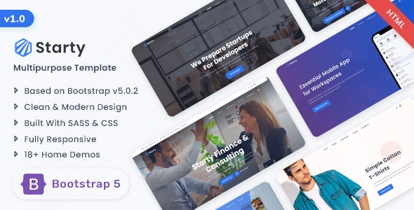 Starty - Bootstrap 5 Multipurpose Template - Corporate Site Templates