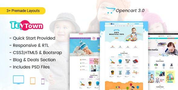 Toytown - Kids Clothing & Toys Opencart Theme