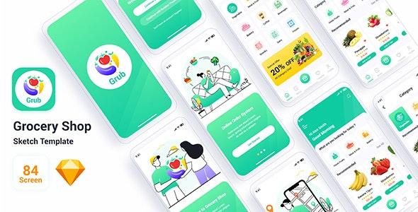 Grub – Grocery Shop Sketch Template - Retail Sketch