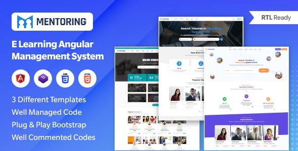 Mentoring - eLearning, Learning management system & Mentor Booking Directory LMS Template (Angular)