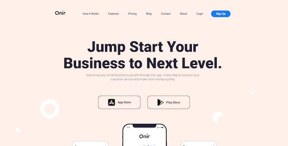 Onir - Mobile App Landing Page Figma Template