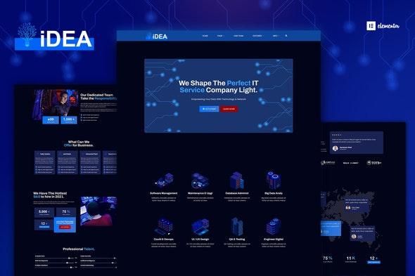 iDea - Technology & IT Network Service  Elementor Template Kit - Technology & Apps Elementor