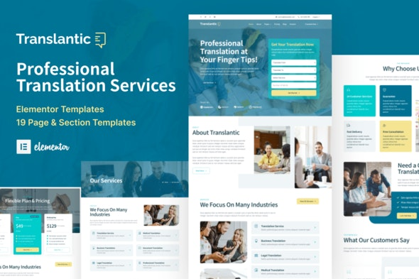 Translantic - Translation Service Agency Elementor Template Kit - Business & Services Elementor
