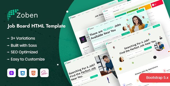 Zoben - Job Board & Hiring HTML Template