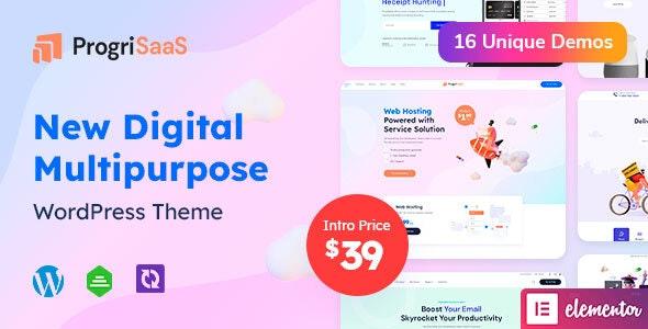 ProgriSaaS - Creative Landing Page WordPress Theme - Software Technology
