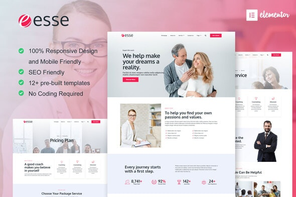 Esse - Life Coach & Consulting Elementor Template Kit - Business & Services Elementor