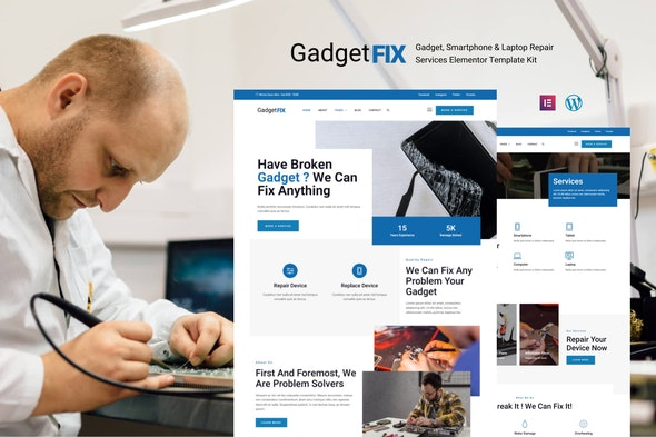 GadgetFIX - Gadget, Smartphone & Laptop Repair Services Template Kit - Business & Services Elementor