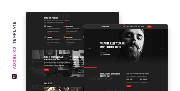 Barbercrop – Hairdressing Template for XD - Retail Adobe XD