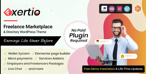 Exertio v1.0.7 – Freelance Marketplace WordPress Theme