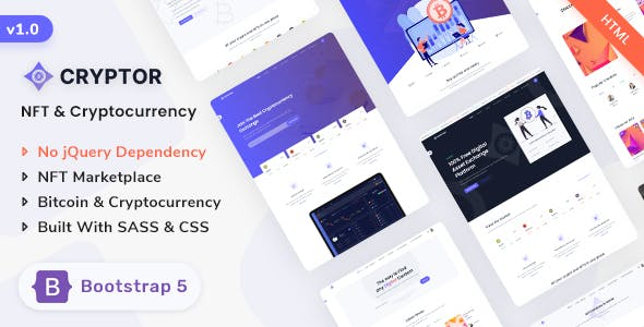 Cryptor - NFT Marketplace & Cryptocurrency ICO Landing Template