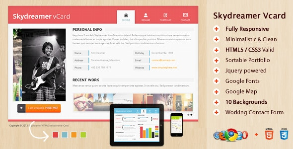Skydreamer HTML5 responsive vCard - Virtual Business Card Personal