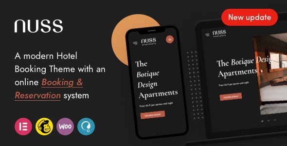 Nuss - Hotel Booking WordPress - Travel Retail