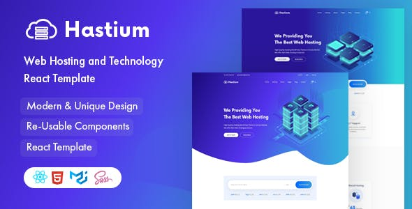 Hastium - Hosting and Technology React Template