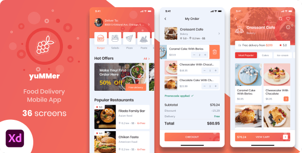 Yummer - Food Delivery Mobile App XD UI Template
