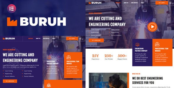 Buruh - Laser Cutting & Engineering Company Elementor Template Kit