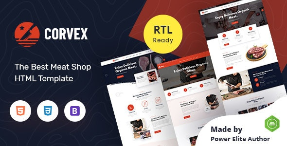 Corvex - Butcher & Meat Shop HTML Template - Food Retail