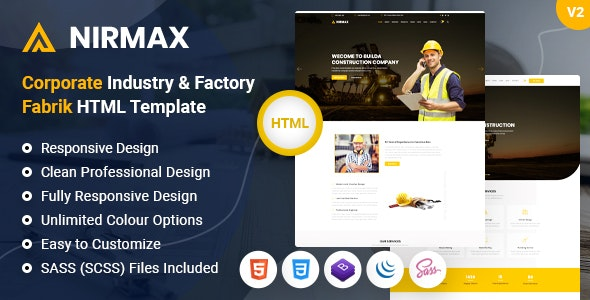 Nirmax - Corporate Industry & Factory Fabrik HTML Template - Business Corporate