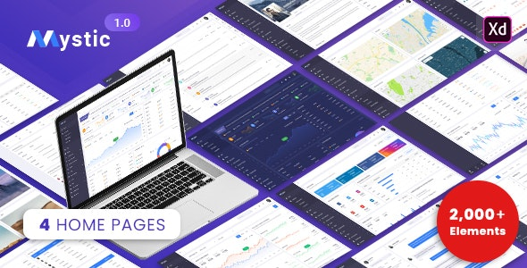 Mystic   Admin Dashboard XD Template - Business Corporate