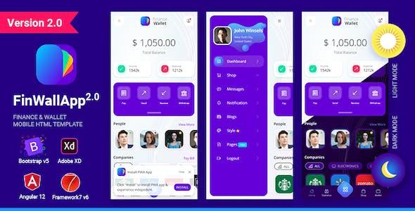 Finwallapp Finance Wallet Mobile HTML template Bootstrap 5 Framework7 Angular 12