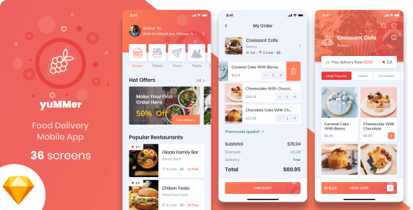 Yummer - Food Delivery Mobile App Sketch UI Template - Food Retail