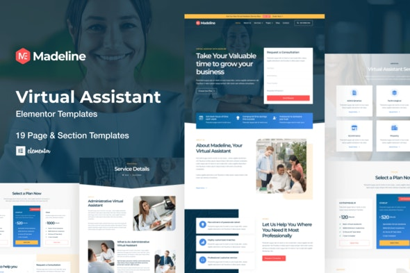 Madeline - Virtual Assistant Website Elementor Template Kit - Business & Services Elementor