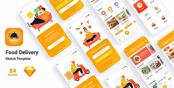 Nosh– Food Delivery Sketch Template - Retail Sketch
