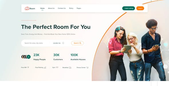 Room - UI Kit for Room Sharing xd Template
