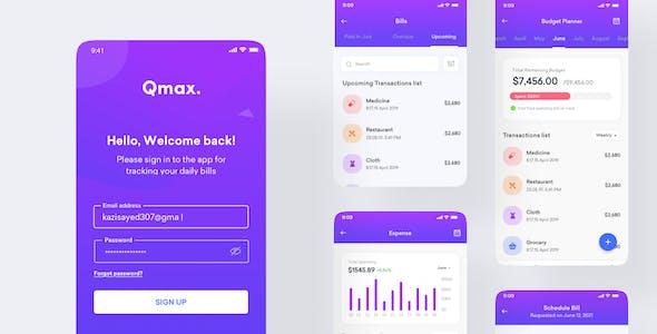 Qmax - Budget Planner & Expense Tracker App UI Kit