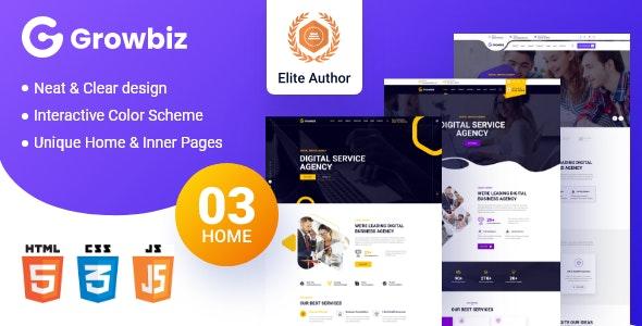 Growbiz - Digital Service Agency HTML5 Template - Business Corporate
