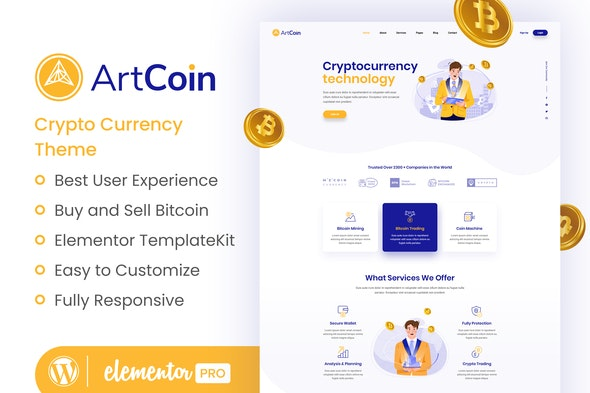 ArtCoin | Bitcoin & Cryptocurrency Elementor Template Kit - Finance & Law Elementor