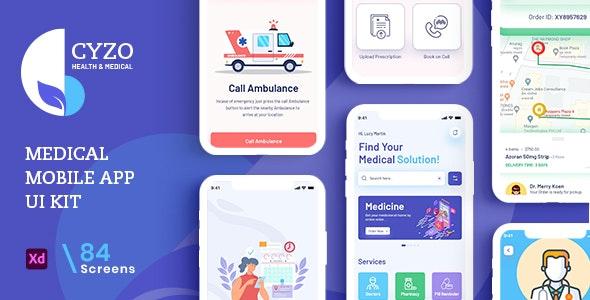 CYZO | Medical App UI Kit for Adobe XD - Health & Beauty Retail