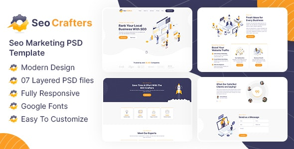 SEO Crafters Marketing PSD Template - Marketing Corporate