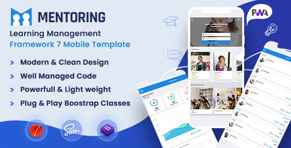 Mentoring - Courses Booking Mobile App LMS, Mentor Directory Template (Framework7 + Bootstrap + PWA)