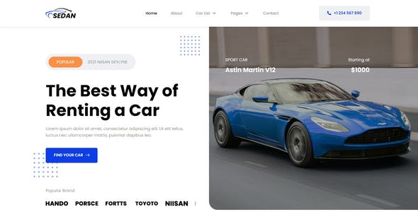 Sedan - Car Rental Elementor Template Kit