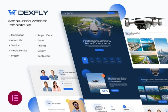 Dexfly | Drone & Aerial Photography Elementor Template Kit - Photography Elementor