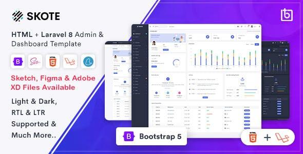 Skote - HTML & Laravel Admin Dashboard Template + Sketch