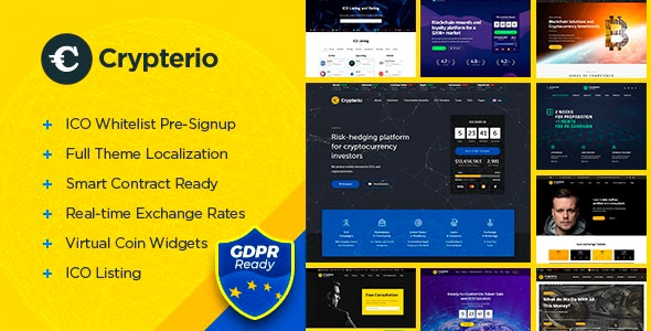 Crypterio - ICO Landing Page and Cryptocurrency WordPress Theme - Technology WordPress