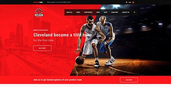 Splash - Sport Club WordPress Theme for Basketball, Football, Hockey