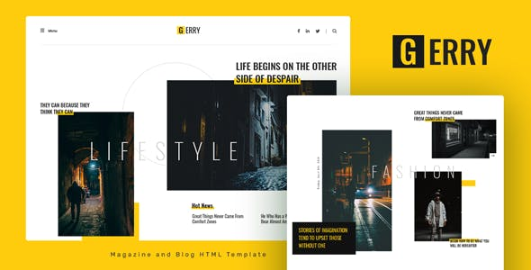 Gerry - Blog and Magazine HTML Template