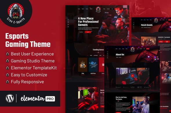 CROX |  Esports & Gaming Elementor Template Kit - Events & Entertainment Elementor