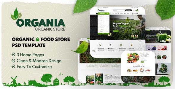 Organia - Organic Foods Store PSD Template - Retail Photoshop