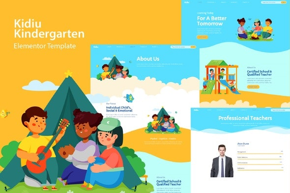 Kidiu Kindergarten - Child Care Elementor Template Kit - Kids & Babies Elementor