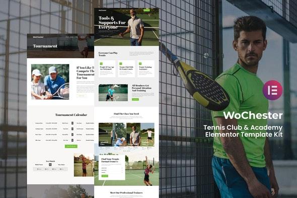 WoChester - Tennis Club & Academy Elementor Template Kit - Sport & Fitness Elementor