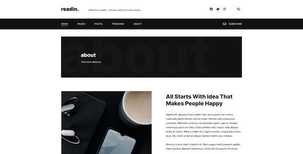 Readin - Blog & Magazine Elementor Template Kit