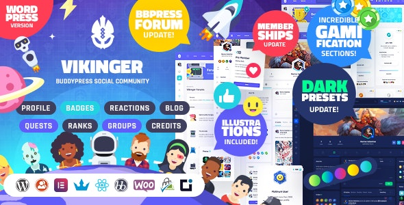 Vikinger v1.9.0 – BuddyPress and GamiPress Social Community