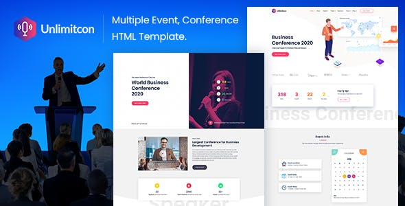 Unlimitcon - Multiple Event, Conference HTML Template.